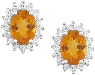 Premier 2.00cttw Oval Citrine & Diamond Earrings, 14K