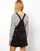 Asos Exclusive Pinafore Dress In Leather Look