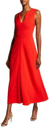 Victoria Beckham Crepe Fit-&-Flare Keyhole-Front Midi Dress
