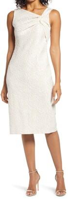 Donna Ricco Stretch Jacquard Sleeveless Dress