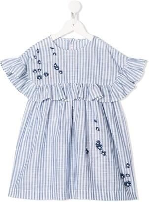 Il Gufo Striped Ruffle-Trimmed Dress