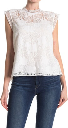 Laundry by Shelli Segal Mock Neck Sleeveless Lace Top