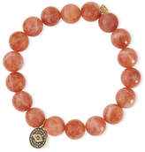 Sydney Evan 10mm Faceted Moonstone Beaded Bracelet w/ 14k Diamond Evil Eye Charm, Peach
