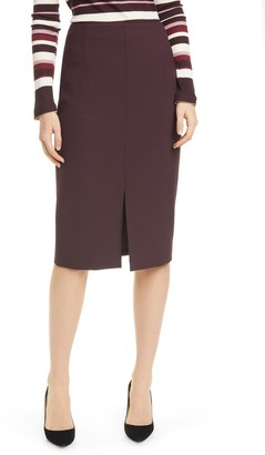 HUGO BOSS Vepeplum Front Slit Pencil Skirt