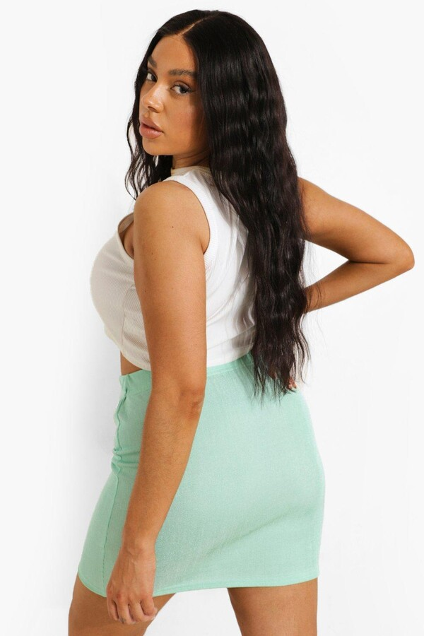 Thumbnail for your product : boohoo Plus Recycled Rib Skirt