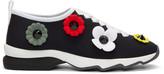 Fendi Black Neoprene Flowerland Sneakers