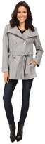 Calvin Klein Double Breasted Belted Stand Collar Faux Wool Women's Coat