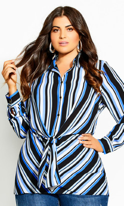 City Chic Moody Stripe Tunic - azure