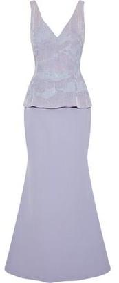 Rachel Gilbert Sequined Organza And Cady Peplum Gown