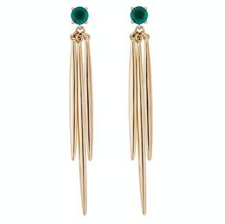 Ileana Makri Emerald Grass Yellow Gold Drop Earrings