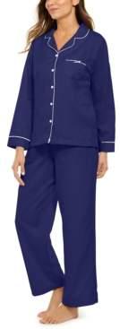 Miss Elaine Petite Jacquard Brushed Back Satin Pajama Set