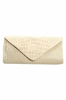 JJ Winters Leather Croco Envelope Clutch in Bone