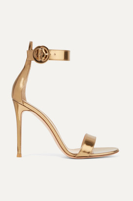 Gianvito Rossi Portofino 105 Metallic Leather Sandals - Gold