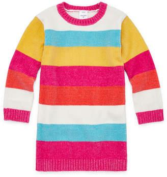 Okie Dokie Girls Long Sleeve Sweater Dress - Toddler