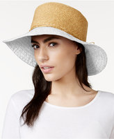 Nine West Canvas and Straw Floppy Hat