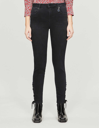 Ted Baker Lattice-trim stretch-denim jeans