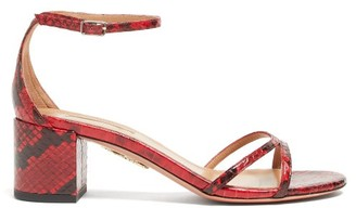 Aquazzura Purist 50 Python-effect Leather Sandals - Womens - Black Red