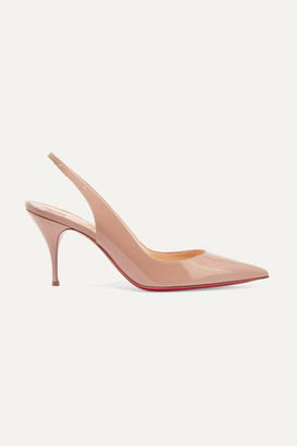 Christian Louboutin Clare 80 Patent-leather Slingback Pumps - Neutral