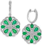 Effy Brasilica Emerald (2-7/8 ct. t.w.) and Diamond (7/8 ct. t.w.) Drop Earrings in 14k White Gold