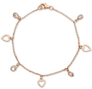 Giani Bernini Cubic Zirconia Heart Charm Bracelet in 18k Rose Gold-Plated Sterling Silver
