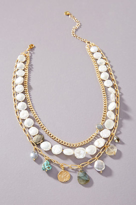 Chan Luu Pearl Charm Layered Necklace By in White Size ALL