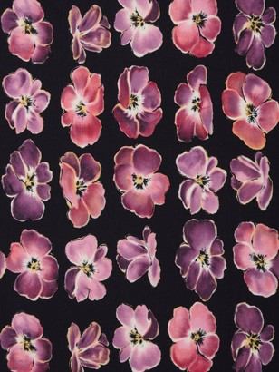John Kaldor Large Floral Print Fabric, Black/Purple
