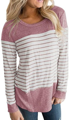 """Toamen Newest Womens Spring Summer Simple Color Block Striped Long Sleeve Round Neck Causal Blouses Tops T Shirts (Pink Size M/Bust 37.0"""")"""