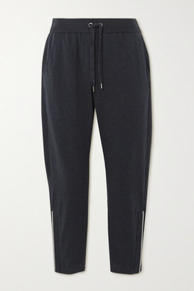 Brunello Cucinelli Bead-embellished Stretch-cotton Jersey Track Pants - Charcoal