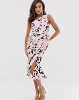 Asos Design DESIGN one shoulder tuck detail midi dress in animal print