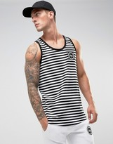 Hype Singlet In White With Black Stripes