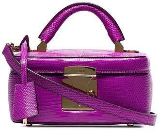 Stalvey magenta top handle lizard skin leather box bag