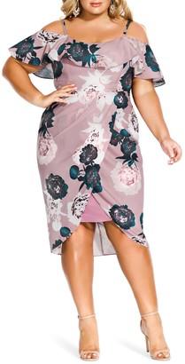 City Chic Floral Quartz Faux Wrap Dress