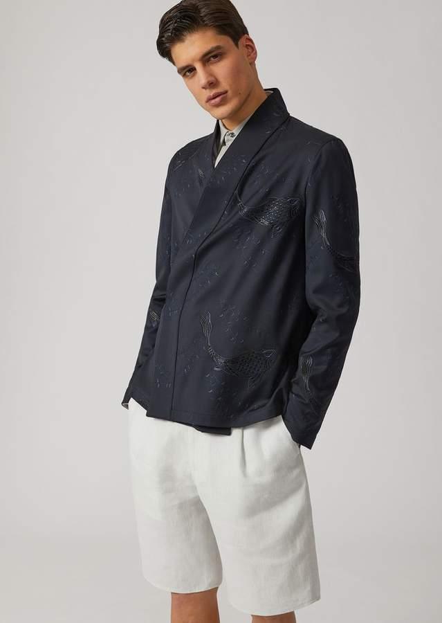 Emporio Armani Virgin Wool Embellished Jacket