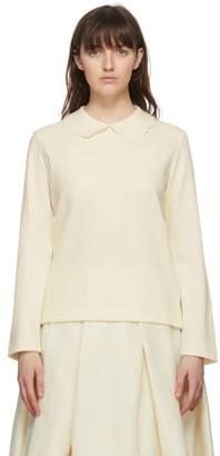 Comme des Garcons Off-White Scalloped Collar Sweater