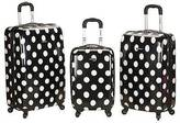 Rockland Laguna Beach 3pc ABS Spinner Luggage Set - Black Dot