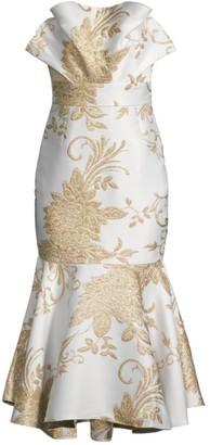 Mestiza New York Pericon Metallic Jacquard Floral Flounce Midi Dress