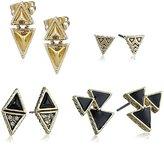 House Of Harlow Black Tessellation Stud Earrings