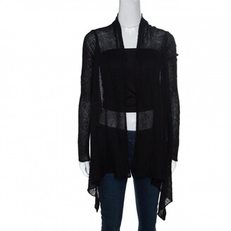 Rick Owens Black Alpaca Wool Open Front Water Fall Cardigan S