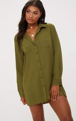 PrettyLittleThing Effy Khaki Shirt Dress