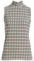 Anne Klein Printed Sleeveless Mock Neck Top