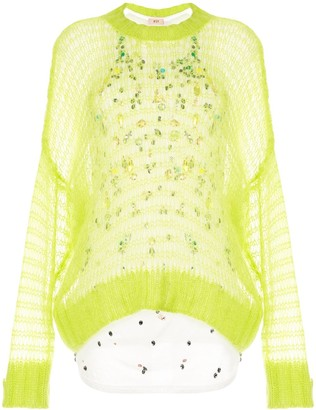 No.21 Layered Open-Knit Jumper