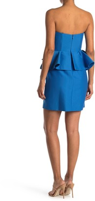 Halston Strapless Peplum Dress