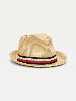 Tommy Hilfiger Signature Tape Band Woven Straw Hat