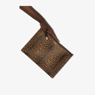 Saint Laurent brown Paris large leopard print pouch