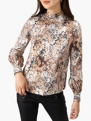Pure Collection High Neck Snakeskin Print Blouse, Neutral