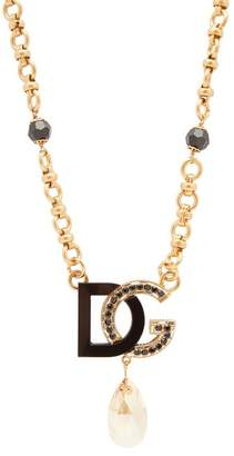 Dolce & Gabbana charm & Crystal-drop Necklace - Womens - Black