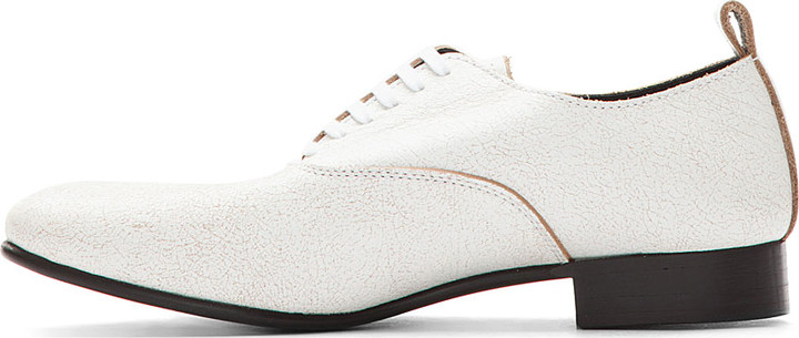 Comme des Garcons White Distressed Leather Oxford Flats