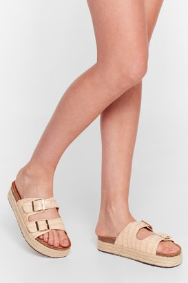 Nasty Gal Womens Step on Up Faux Leather Croc Sliders - Nude