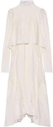 Chloé Layered Leavers Lace-paneled Crepe De Chine Dress