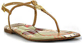 Tory Burch Emmy - Sand Patent Leather Floral Print Thong